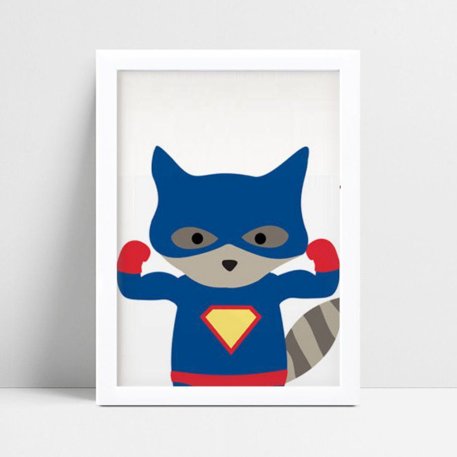 quadro quadro infantil guaxinim super herói
