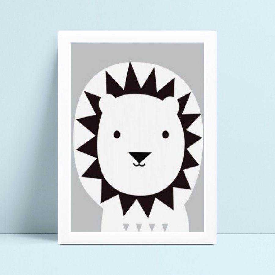 quadro quadro infantil leão preto e lilás