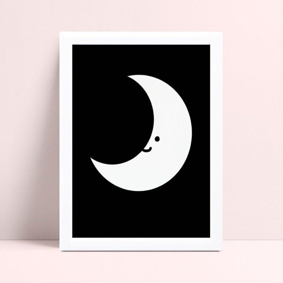 quadro quadro infantil meia lua p&b