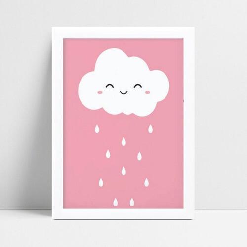Quadro Quadro Infantil Menina chuva nuvem branco e rosa