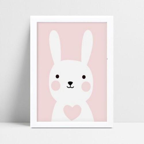 quadro quadro infantil menina coelho banco e rosa