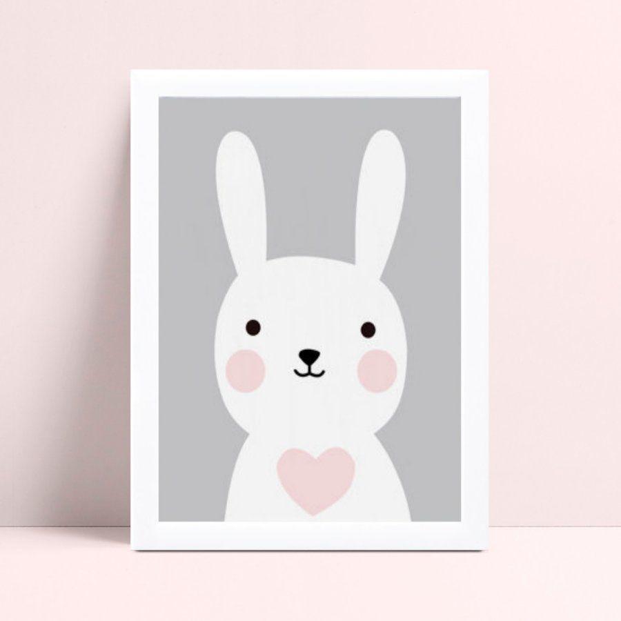 Quadro Quadro Infantil Menina coelho branco e rosa