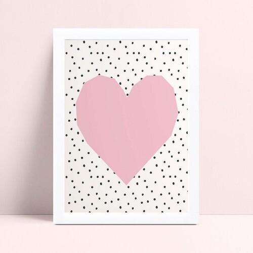 Quadro Quadro Infantil Menina coração rosa bolinhas preta