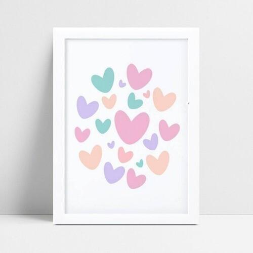 Quadro Quadro Infantil Menina corações coloridos