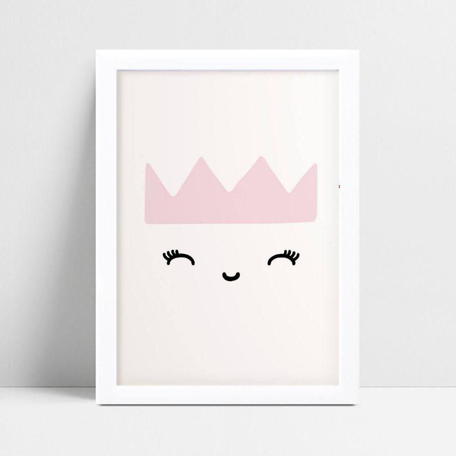 quadro quadro infantil menina coroa princesa rosa