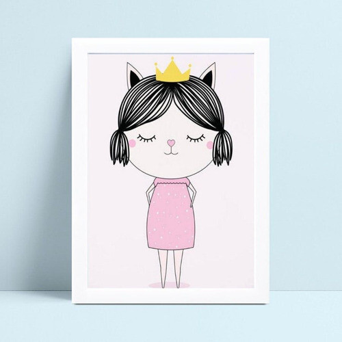 Quadro Quadro Infantil Menina de coroa e vestido rosa
