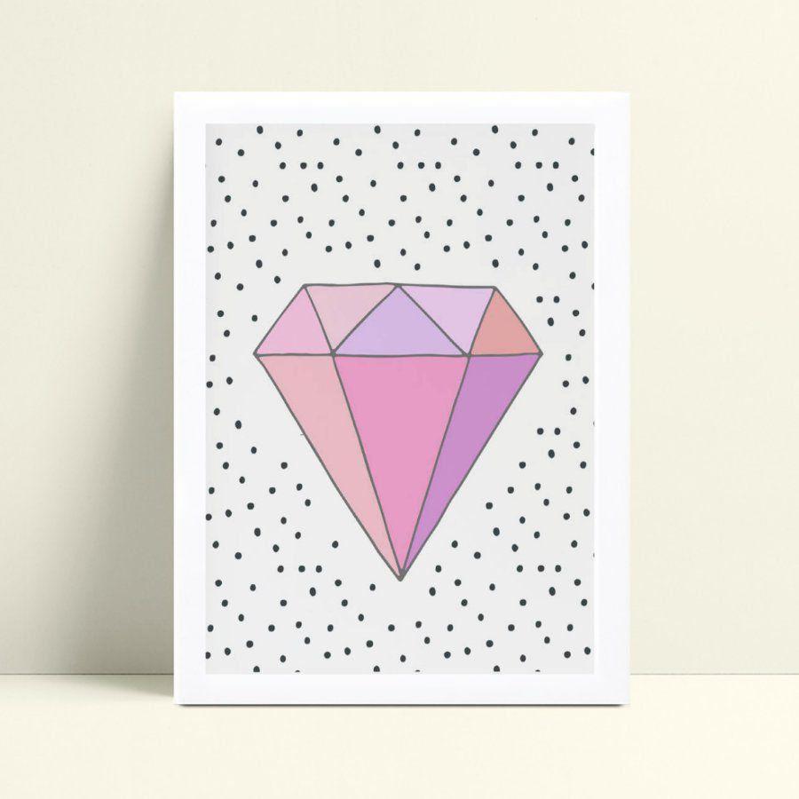 Quadro Quadro Infantil Menina diamante rosa