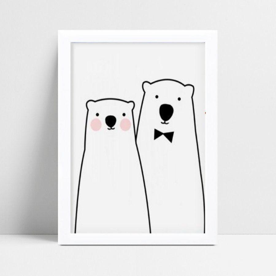 quadro quadro infantil menina e menino ursos
