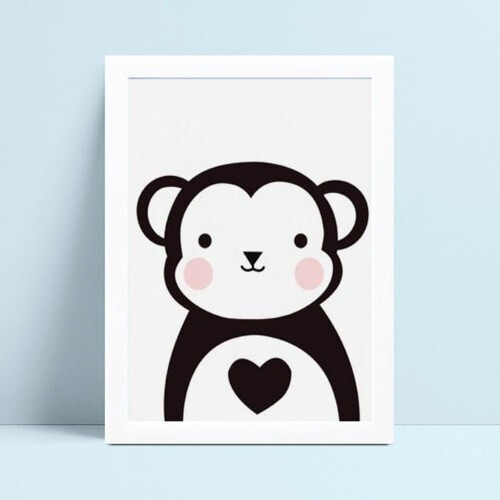 Quadro Quadro Infantil Menina Menino animal macaco