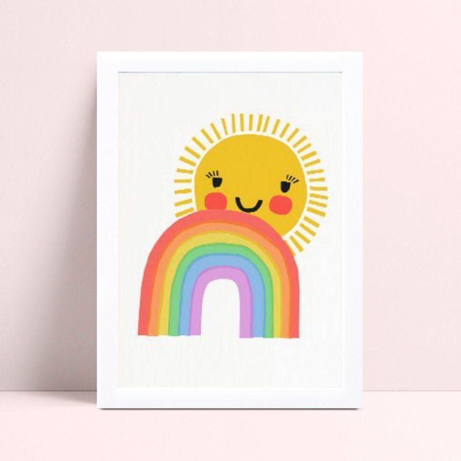 Quadro Quadro Infantil Menina Menino arco-íris sol