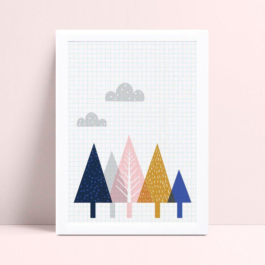 Quadro quadro infantil menina menino bebê árvores coloridas
