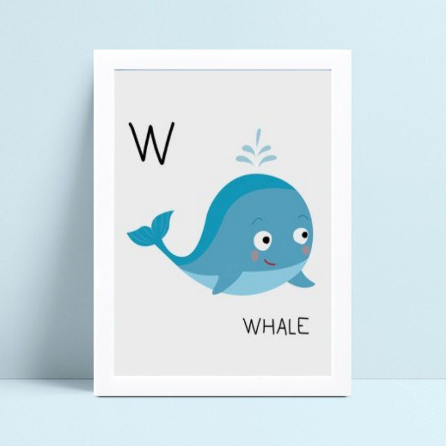 Quadro quadro infantil menina menino bebê baleia azul