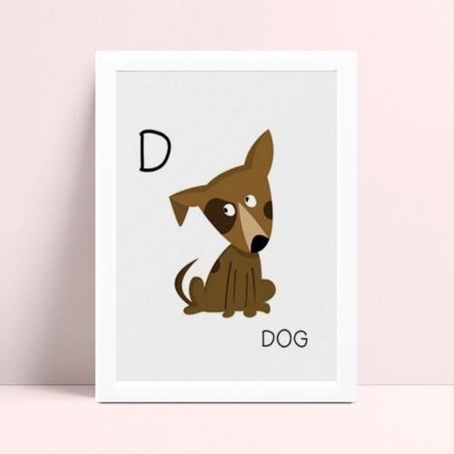 Quadro quadro infantil menina menino bebê cachorro marrom