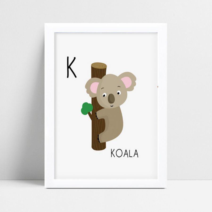 Quadro quadro infantil menina menino bebê coala cinza