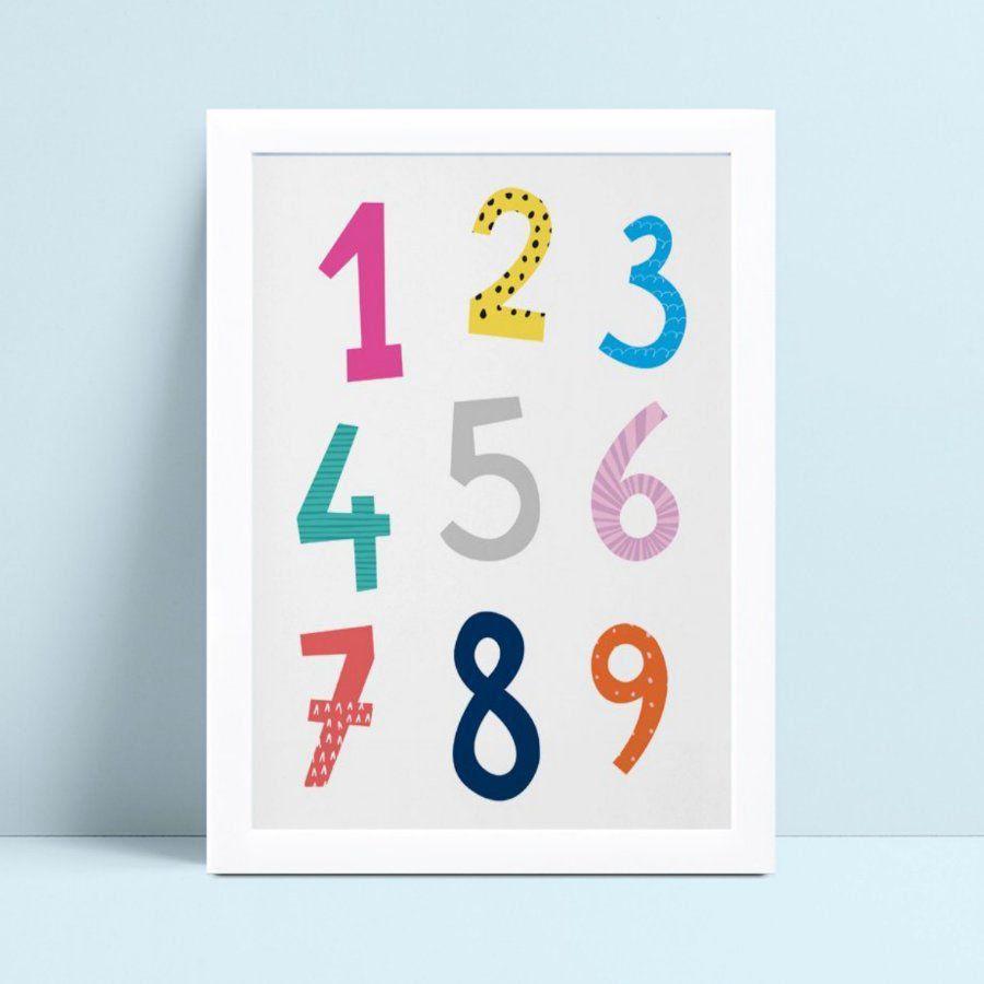 Quadro quadro infantil menina menino bebê números coloridos
