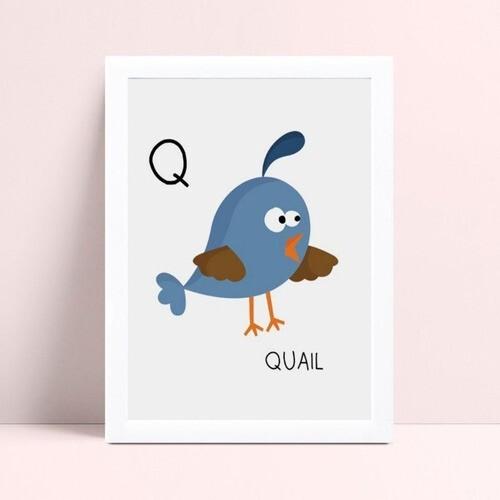 Quadro quadro infantil menina menino bebê pássaro azul