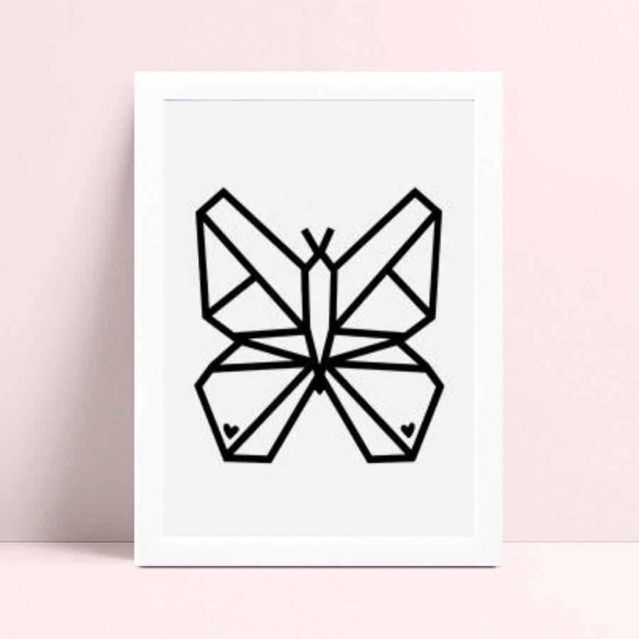 Quadro Quadro Infantil Menina Menino borboleta geométrica
