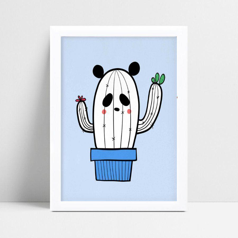 Quadro Quadro Infantil Menina Menino cacto panda