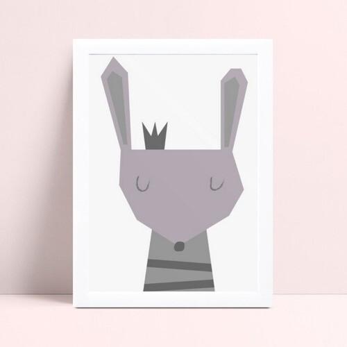 Quadro Quadro Infantil Menina Menino coelho cinza
