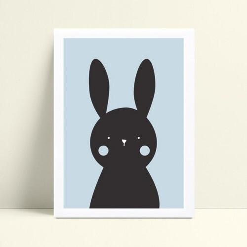 Quadro Quadro Infantil Menina Menino coelho preto e azul