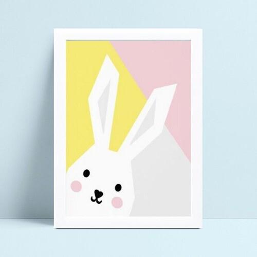 Quadro Quadro Infantil Menina Menino colorido coelho branco
