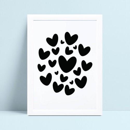 Quadro Quadro Infantil Menina Menino corações preto