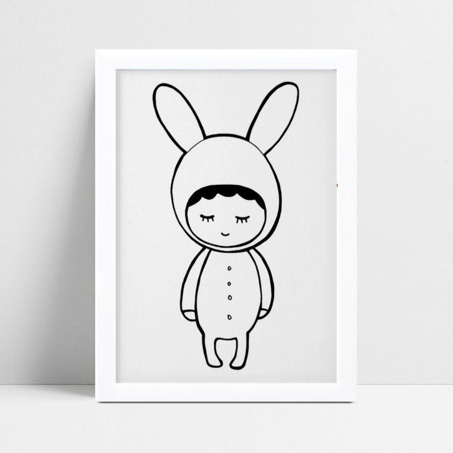 Quadro Quadro Infantil Menina Menino de pijama coelho