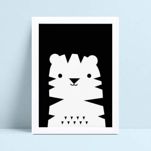 Quadro Quadro Infantil Menina Menino desenho tigre p&b