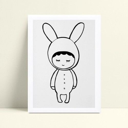 Quadro Quadro Infantil Menina Menino fantasia de coelho p&b