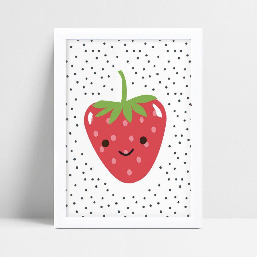 Quadro Quadro Infantil Menina Menino fruta morango