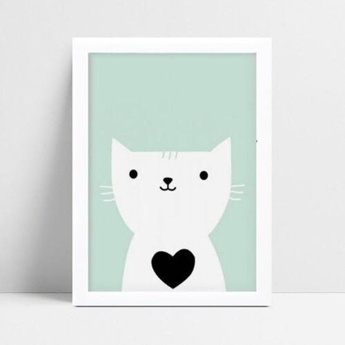 Quadro Quadro Infantil Menina Menino gatinho branco