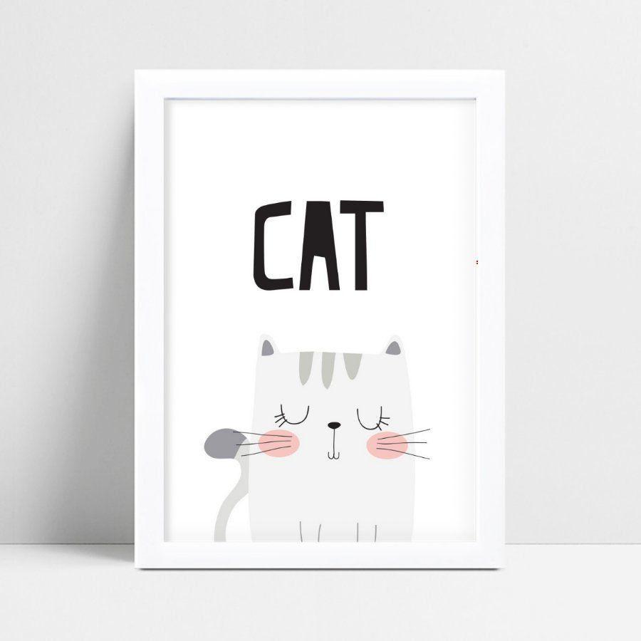 Quadro Quadro Infantil Menina Menino gato cinza
