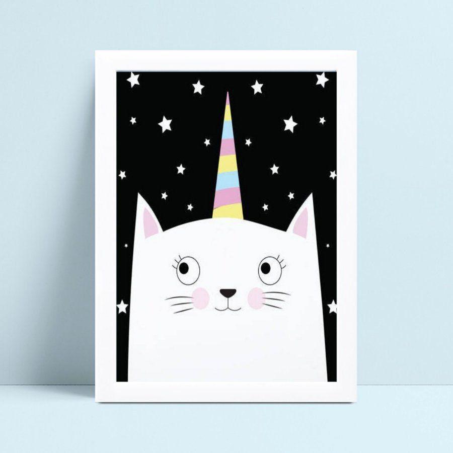Quadro Quadro Infantil Menina Menino gato noite estrelada