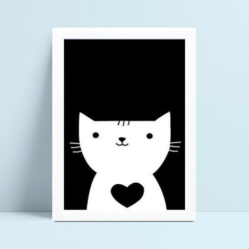 Quadro Quadro Infantil Menina Menino gato p&b