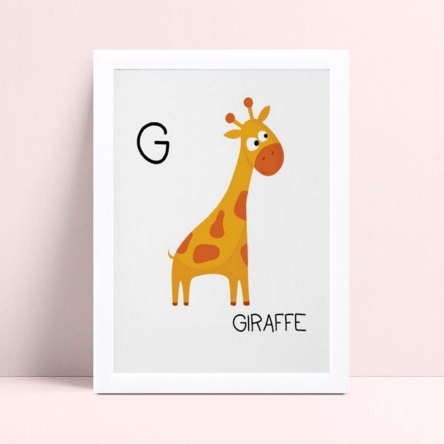 Quadro Quadro Infantil Menina Menino girafa amalero