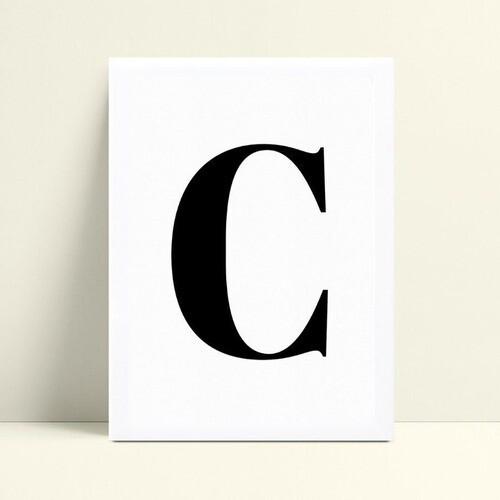 Quadro Quadro Infantil Menina Menino inicial letra C p&b