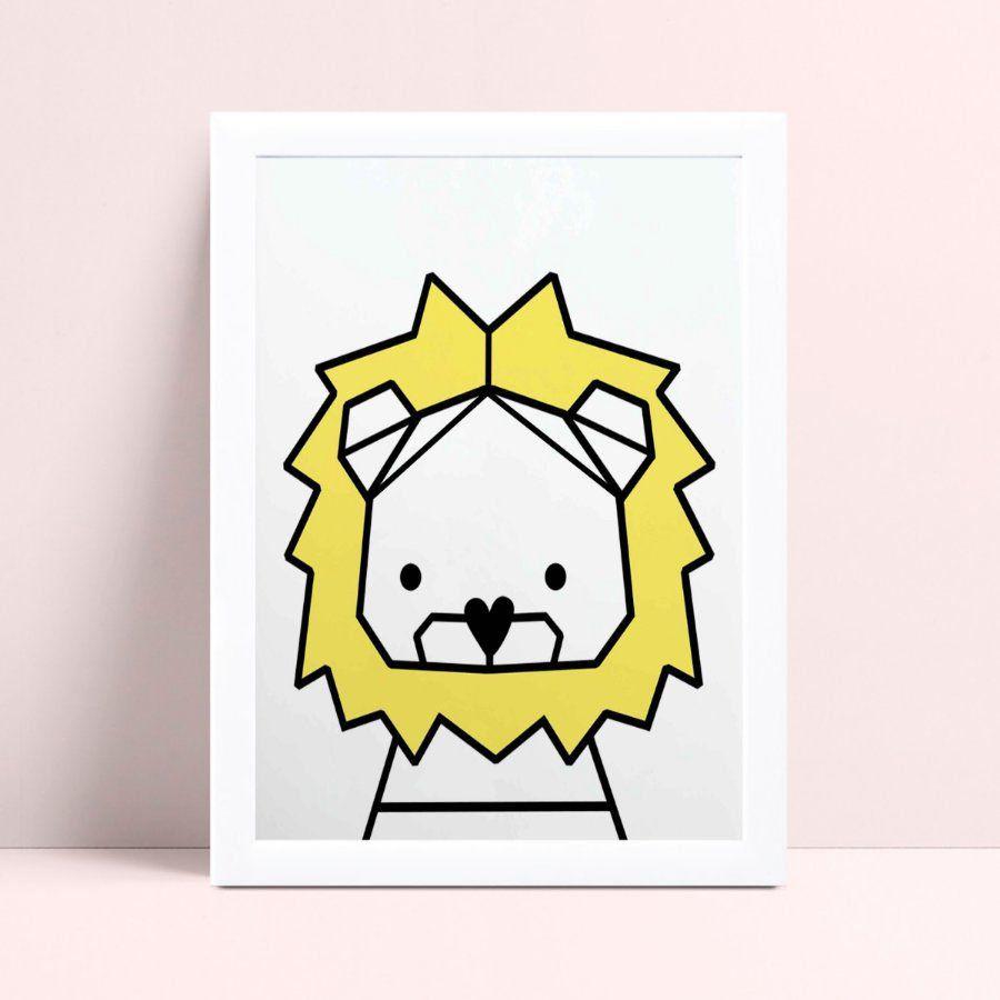 Quadro Quadro Infantil Menina Menino leão geométrico