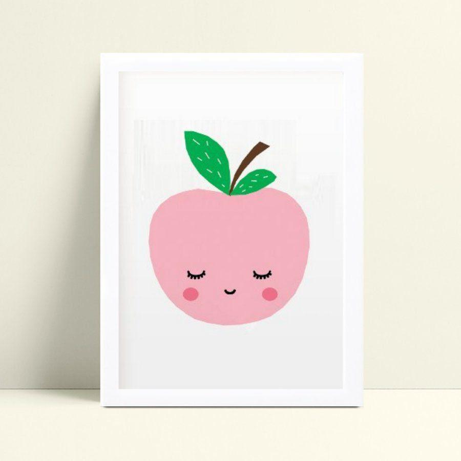 Quadro Quadro Infantil Menina Menino maçã rosa