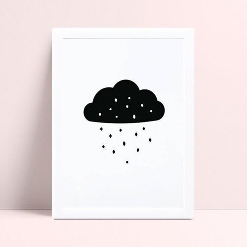 Quadro Quadro Infantil Menina Menino nuvem chuva p&b