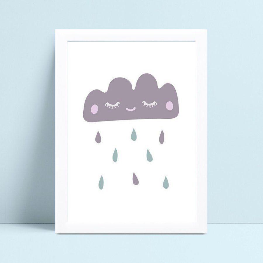 Quadro Quadro Infantil Menina Menino nuvem cinza gotas color