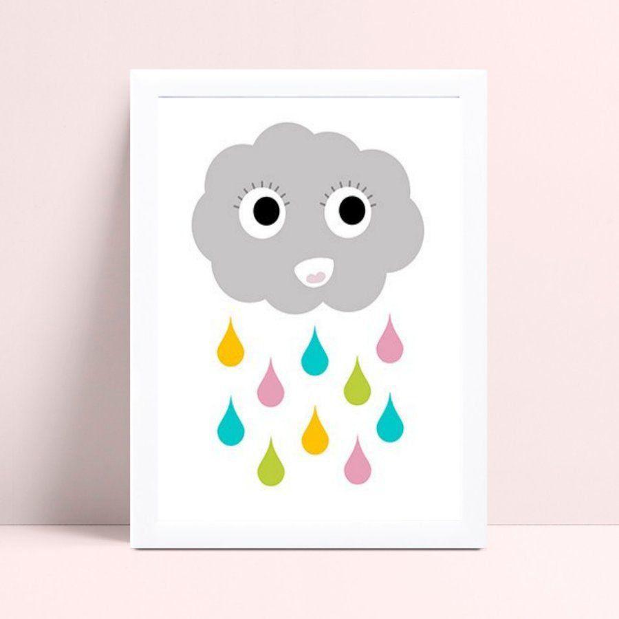 Quadro Quadro Infantil Menina Menino nuvem gotas coloridas