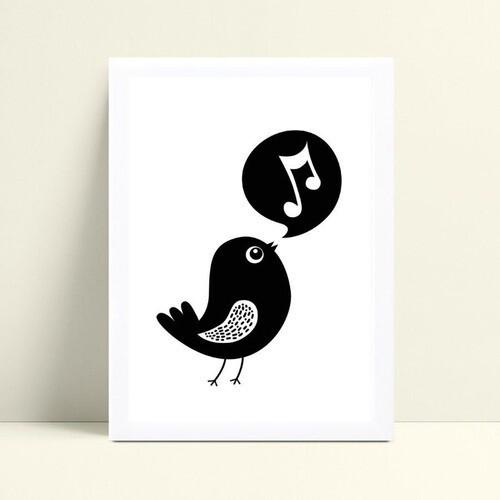 Quadro Quadro Infantil Menina Menino pássaro cantando