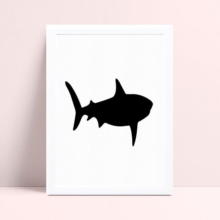 Quadro Quadro Infantil Menina Menino silhueta tubarão