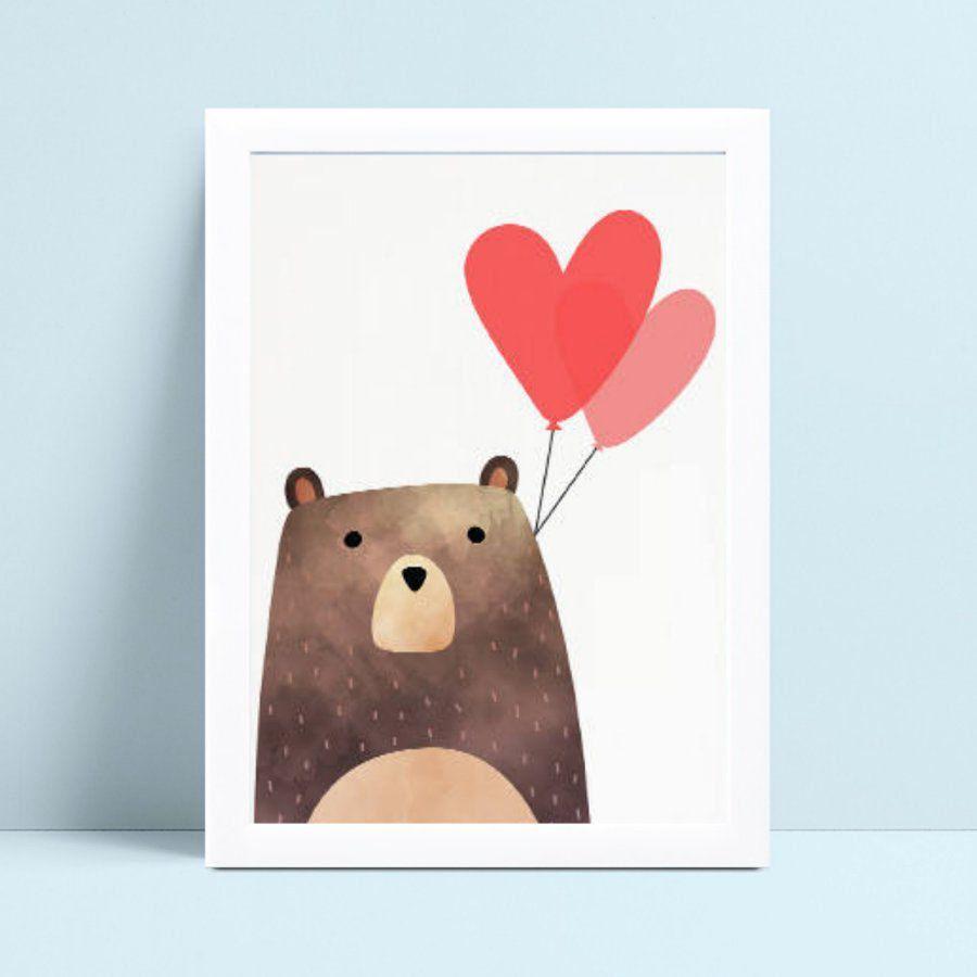 Quadro Quadro Infantil Menina Menino urso balão de corações