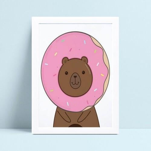 Quadro Quadro Infantil Menina Menino urso donuts
