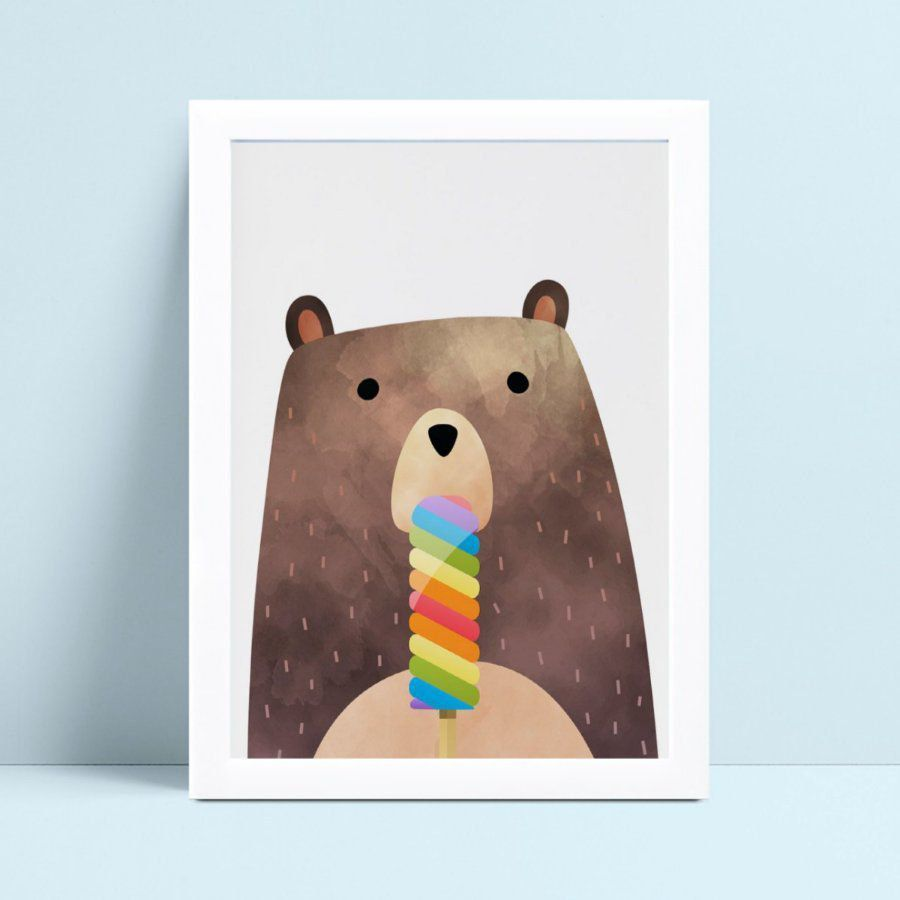 Quadro Quadro Infantil Menina Menino urso picolé colorido