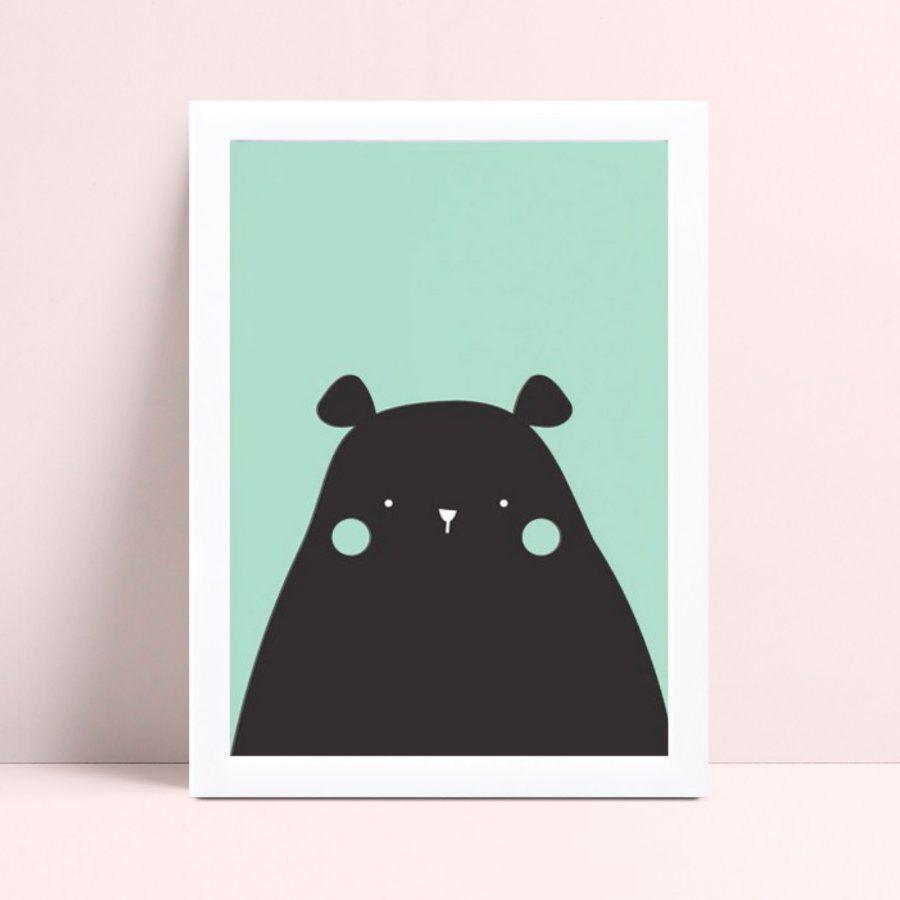 Quadro Quadro Infantil Menina Menino urso verde e preto