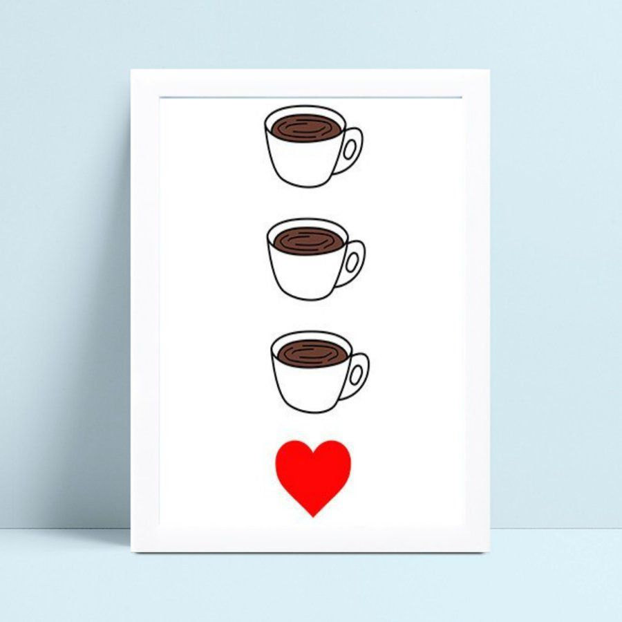 Quadro Quadro Infantil Menina Menino xícaras café coração