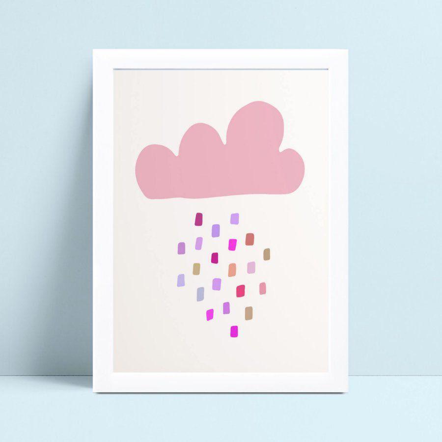 quadro quadro infantil menina nuvem rosa gotas coloridas