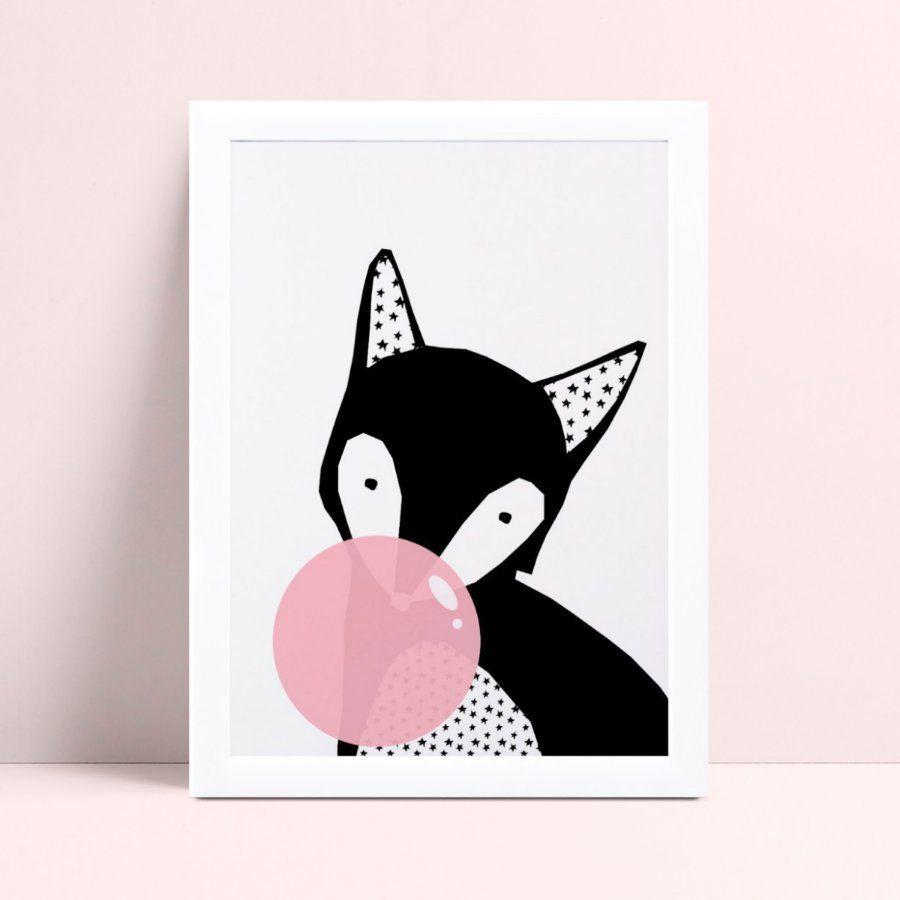 Quadro Quadro Infantil Menina raposa bola de chiclete rosa